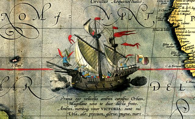 Detail from a map of Orteliммвus Magellans ship Victoria